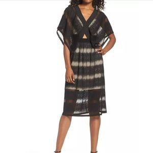 Foxiedox Black Lace Kimono Sleeves Dress Large